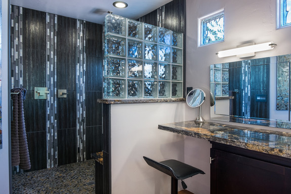 Remodeled bath, matching granite throughout the house