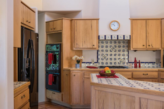 Kitchen with double wall ovens