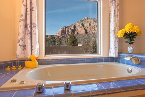 Master bath jetted tub, with views!