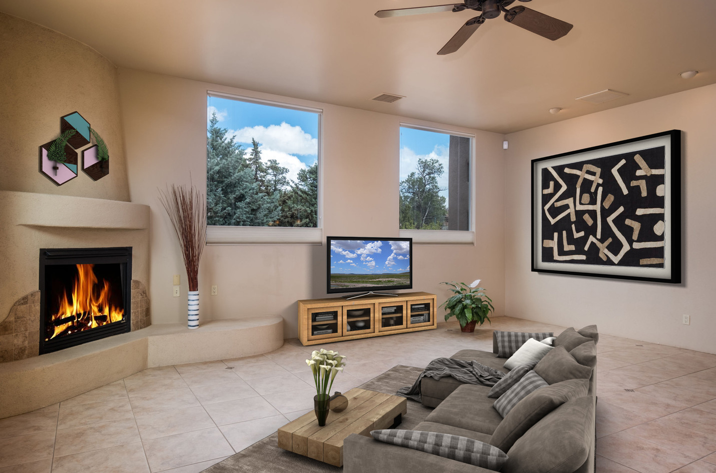 Great room, virtually staged
