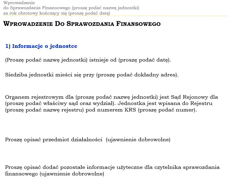 Fragment wprowadzenia do uproszczonego sprawozdania finansowego
