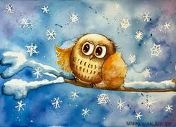 Pöllö ja lumihiutaleet