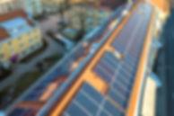 Aerial view of solar photo voltaic panel