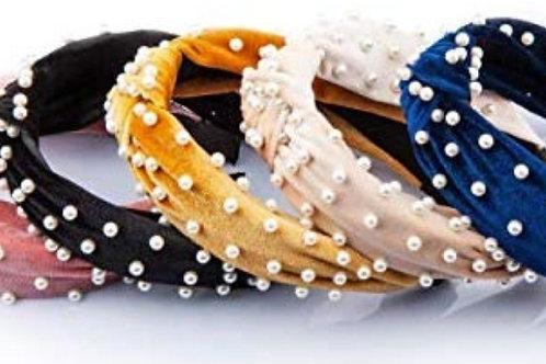 Pearl Velvet Knot Headbands