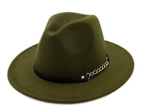 Olive Green Fedora Hat