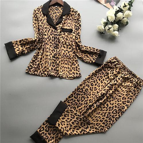 QWEEK Homewear Women Pajamas Leopard Satin Casual Elegant Pyjama Femme Silk