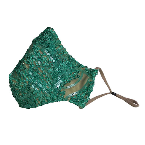 Green Embroidered Fitted Face Mask