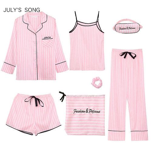 Pink Women's 7 Pieces Pajamas Sets Faux Silk Striped Pyjama Women Sleepwear