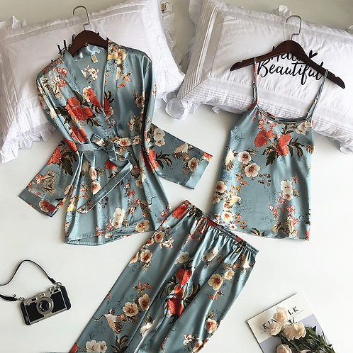 3 PCS Women Pajamas Sets With Pants Sexy Pyjama Satin Flower Print Nightwear