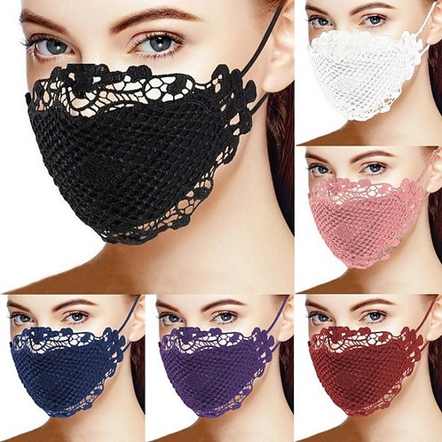 1PCS Lace Face Mask Printed Masks Cotton Fabric Adult Protective Mouth Cover