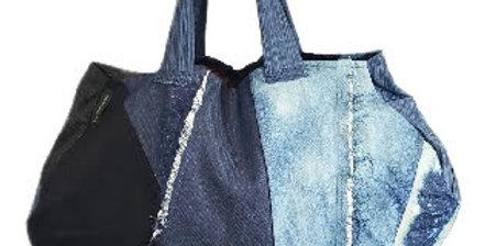 Patchwork Bleached Denim Handbag