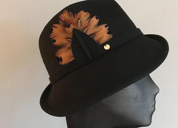 Black felt side sweeping trilby