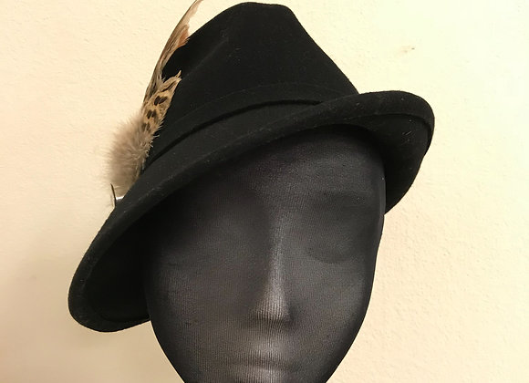 Black side sweeping trilby and large pheasant feather trim
