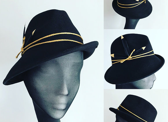 Gold and black trilby