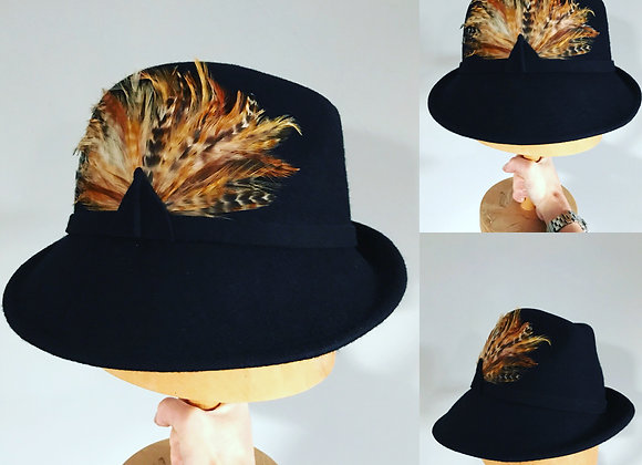 Felt Trilby with Golden pheasant feather trim