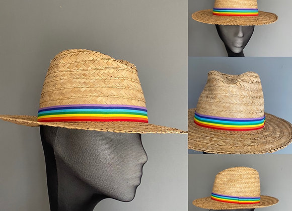 Coconut straw fedora with short brim