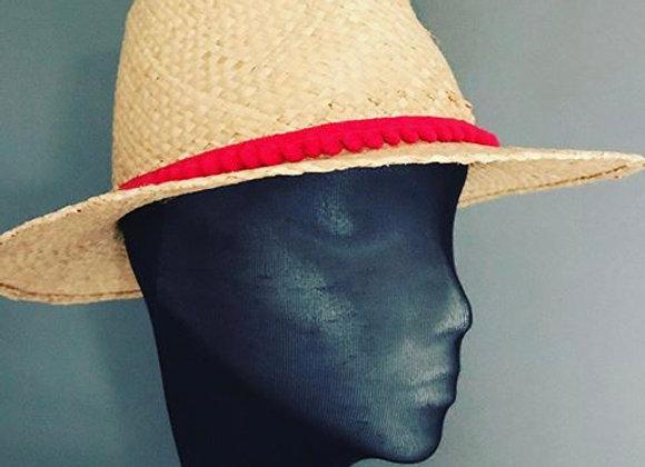 Natural straw fedora hat