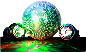 mirror ball & two spoy lights