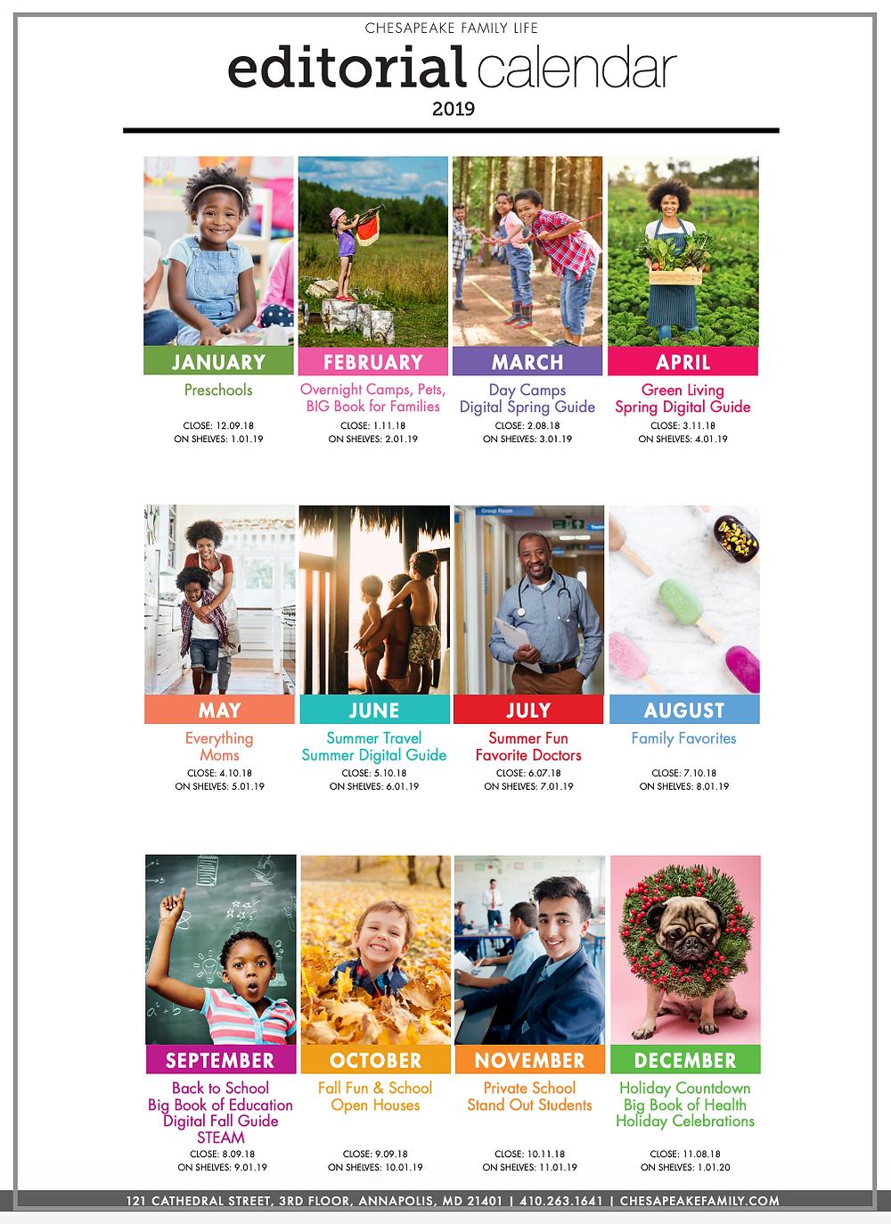2019 Chesapeake Family Life Editorial Calendar