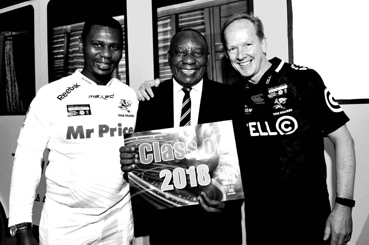 Akhona Mahlati, President Cyril Ramaphosa and David White
