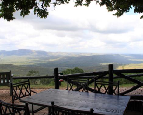Deck view at the Hluhluwe Hilltop Camp, KwaZulu-Natal