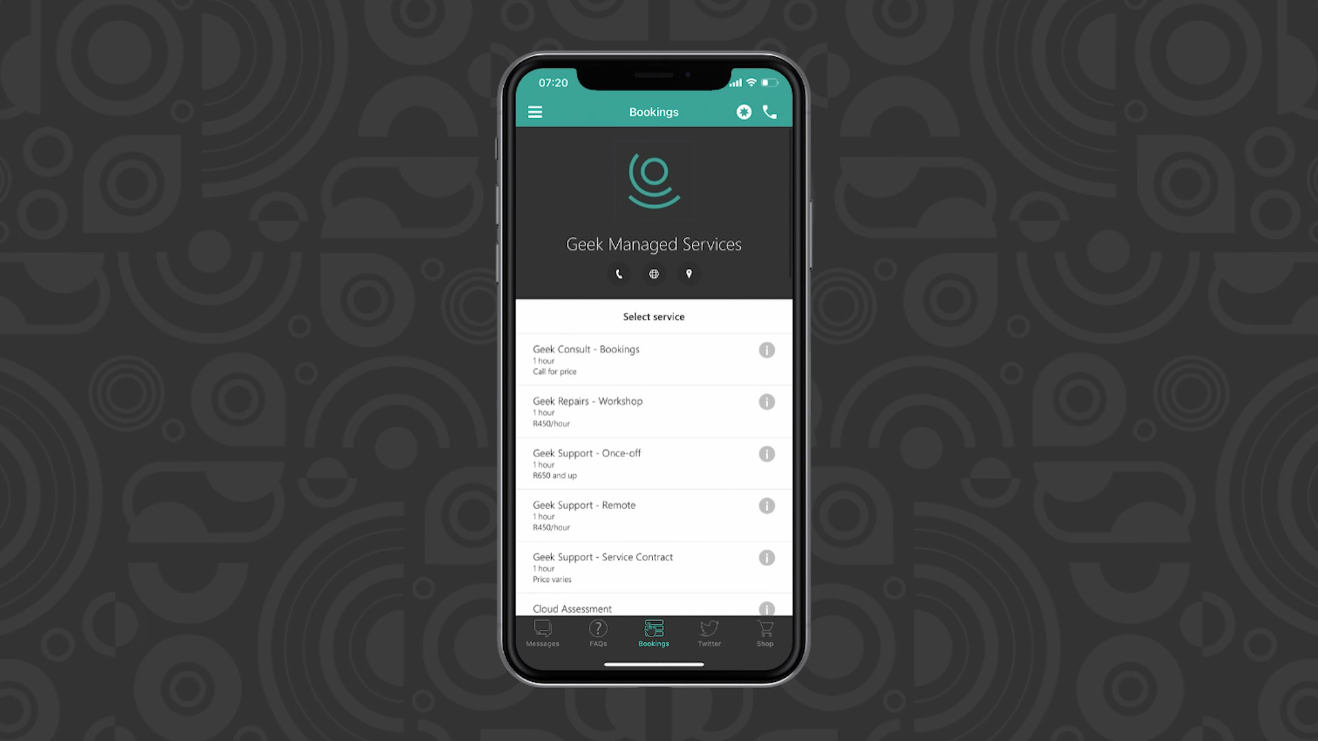 Geek Managed Services communication app