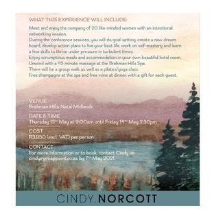 Cindy Norcott's Upcoming business retreat: 13-14 May 2021 at Brahman Hills, Natal Midlands