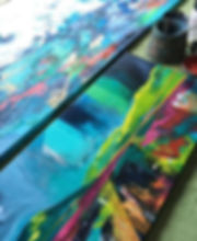 Working in the studio today on paintings