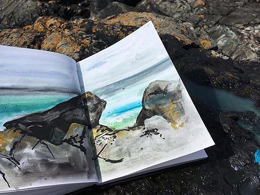 Painting on Porthmeor beach #porthmeorbe