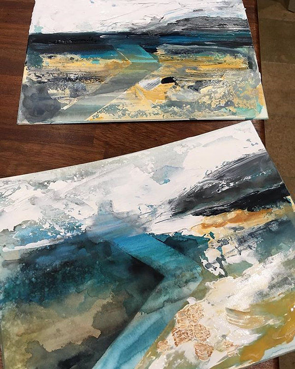 Started these two paintings in the wind