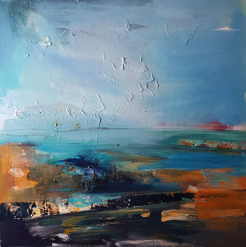 Sarah Cox. Porthmeor Beach.Acrylic on ca