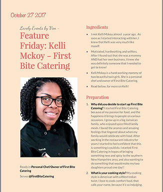 For the Love of Cooking, Kelli McKoy: October's Feature Friday