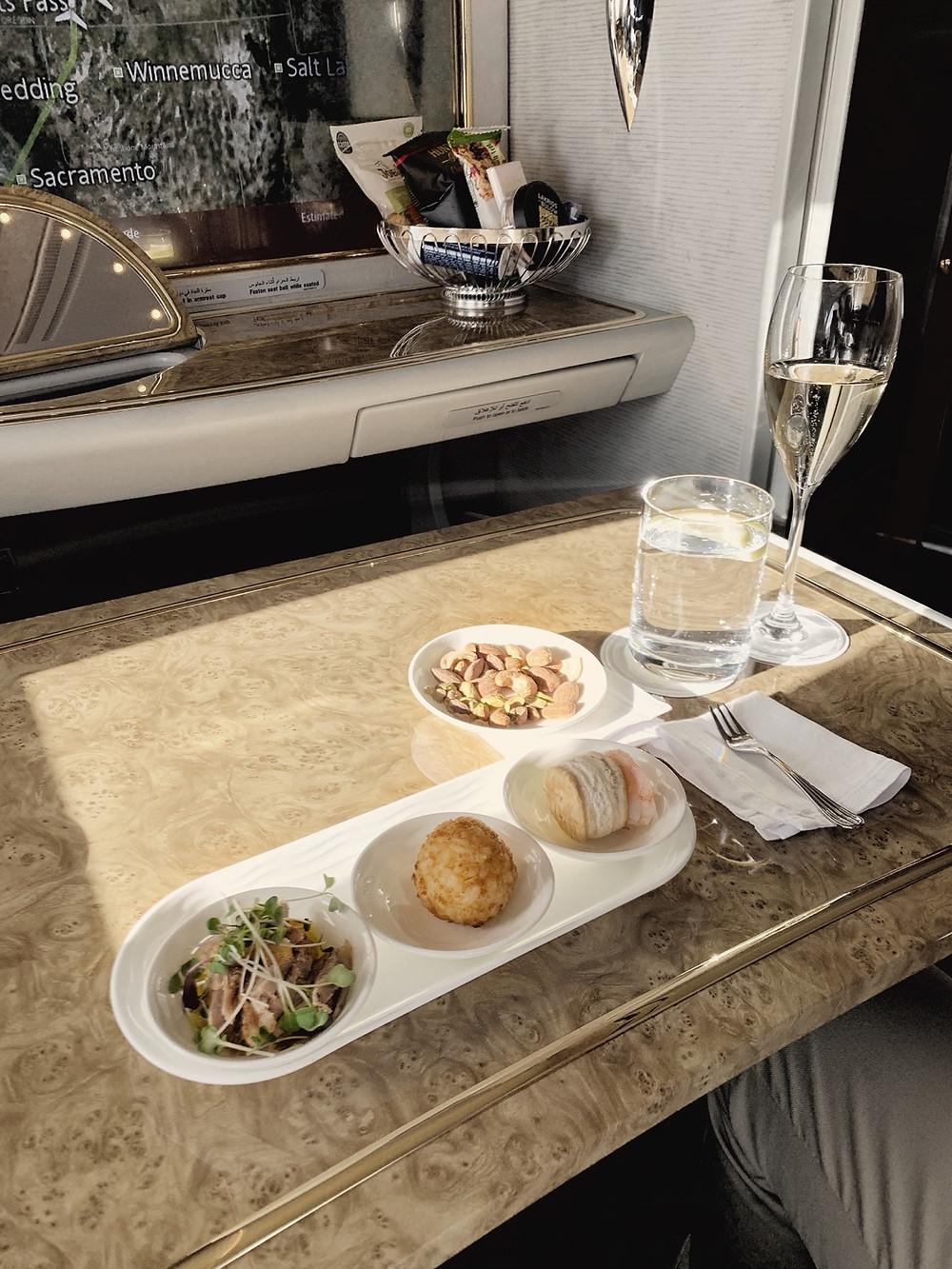 Emirates First Class San Francisco - Dubai, Canapes Service