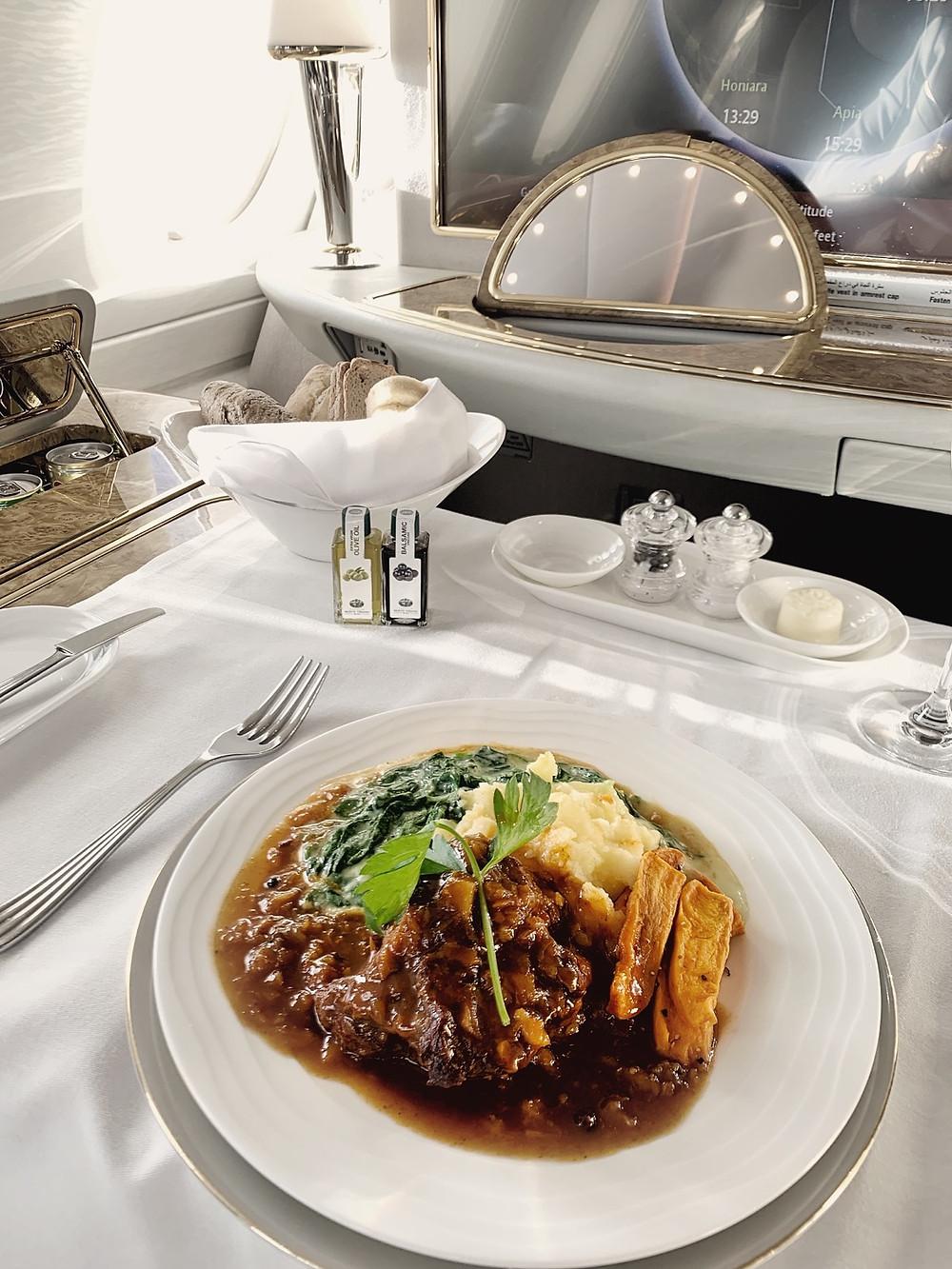 Emirates First Class San Francisco - Dubai, Braised Veel Cheeks Main Dish