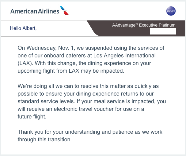 American Airlines, Catering Suspension Notifcation