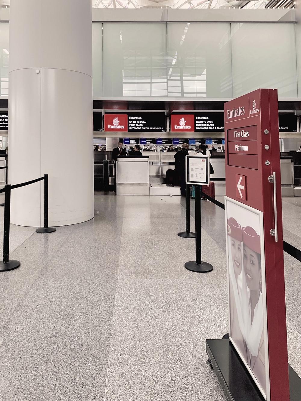 Emirates First Class San Francisco - Dubai, SFO Check-In Desk