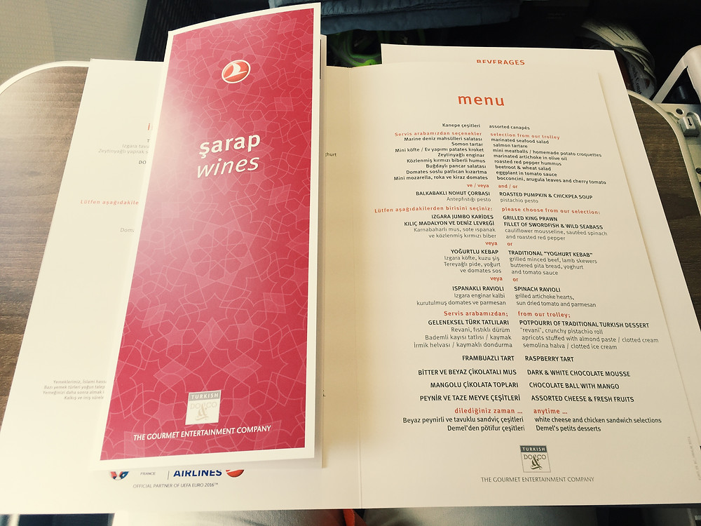 Turkish Airlines Business Class, Menu
