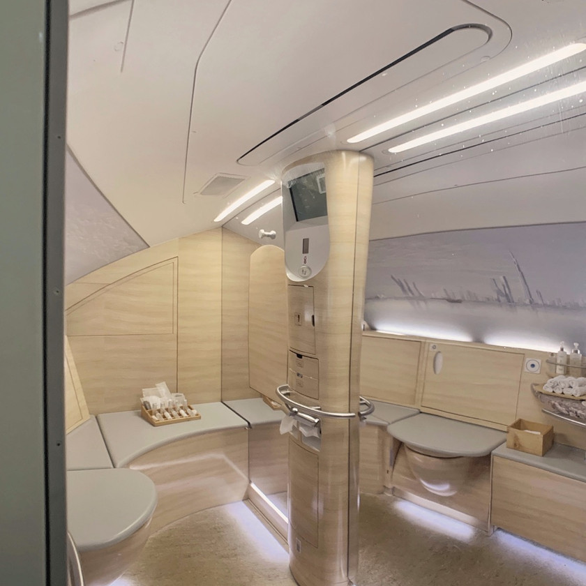 The Emirates First Class A380 extra large lavatory and onboard shower spa room.