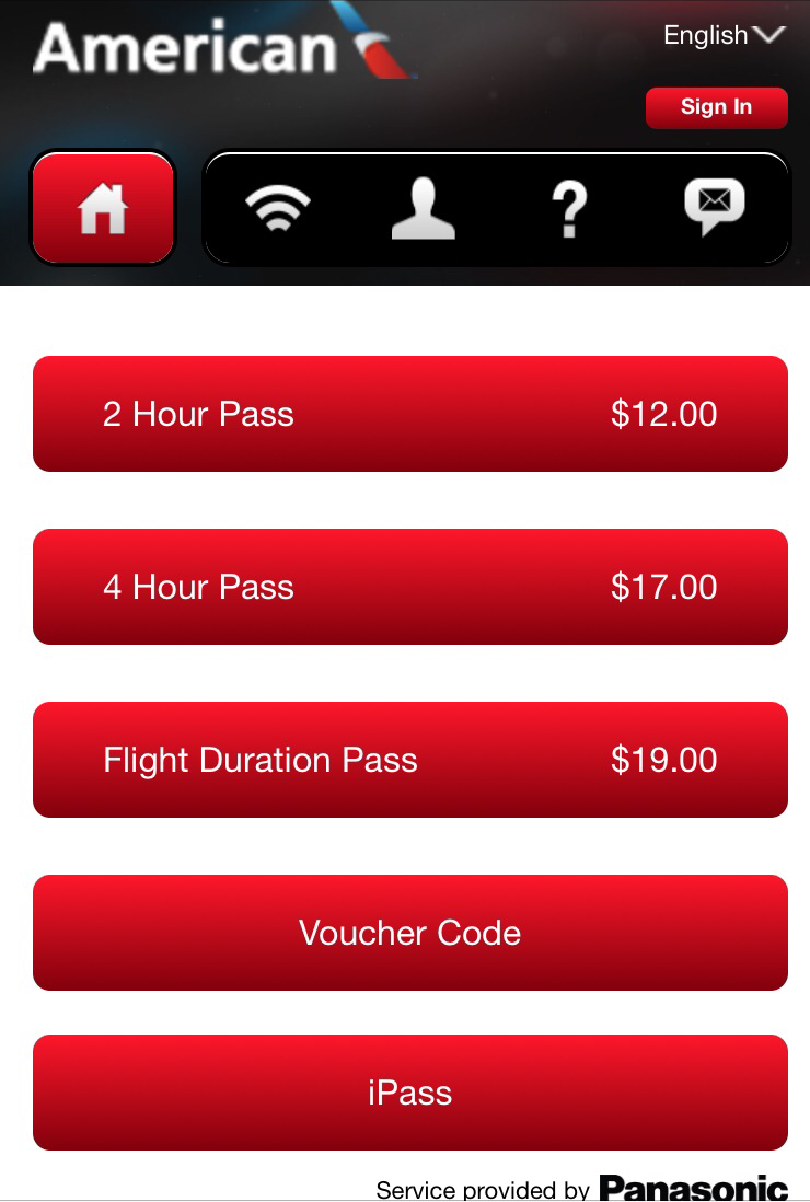 American Airlines Business Class, WiFi Pricing