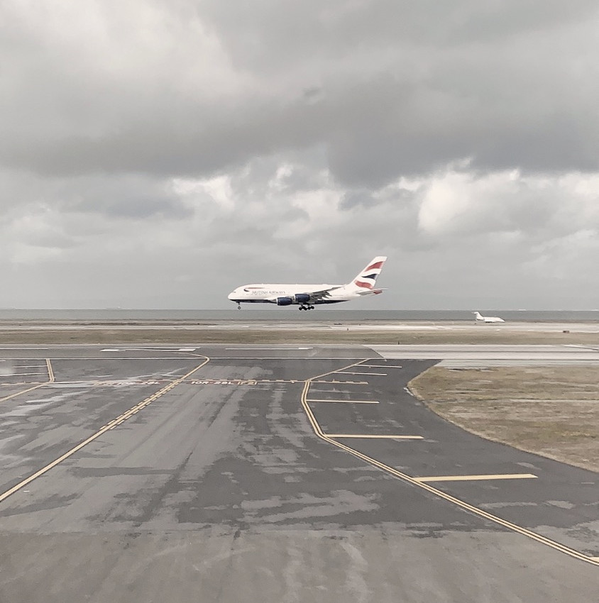 A British Airways A380 spotted landing at SFO as we prepare for a rainy day take-off.