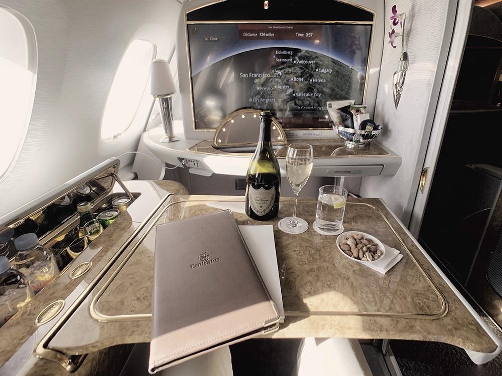 Emirates First Class San Francisco - Dubai, Dom Pérignon