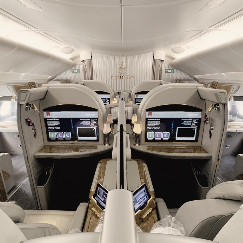 The Emirates First Class A380 Cabin includes 12 Seats spread across 4 rows.