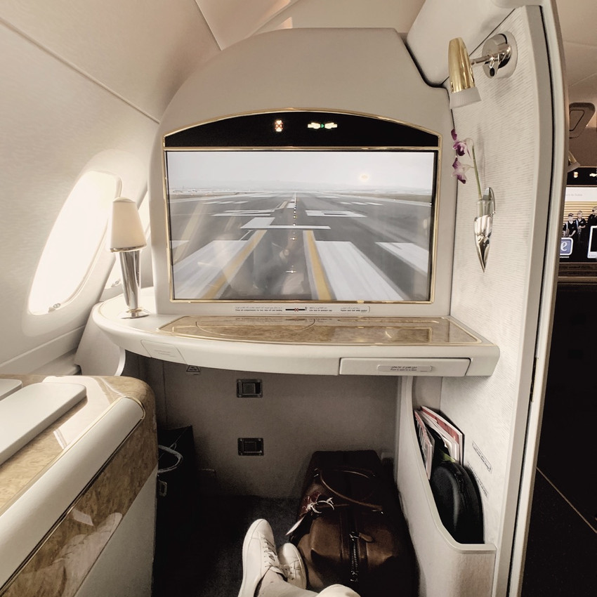 The Emirates First Class A380 Seat TV is one of the largest in the sky, and perfect for plane-watching.