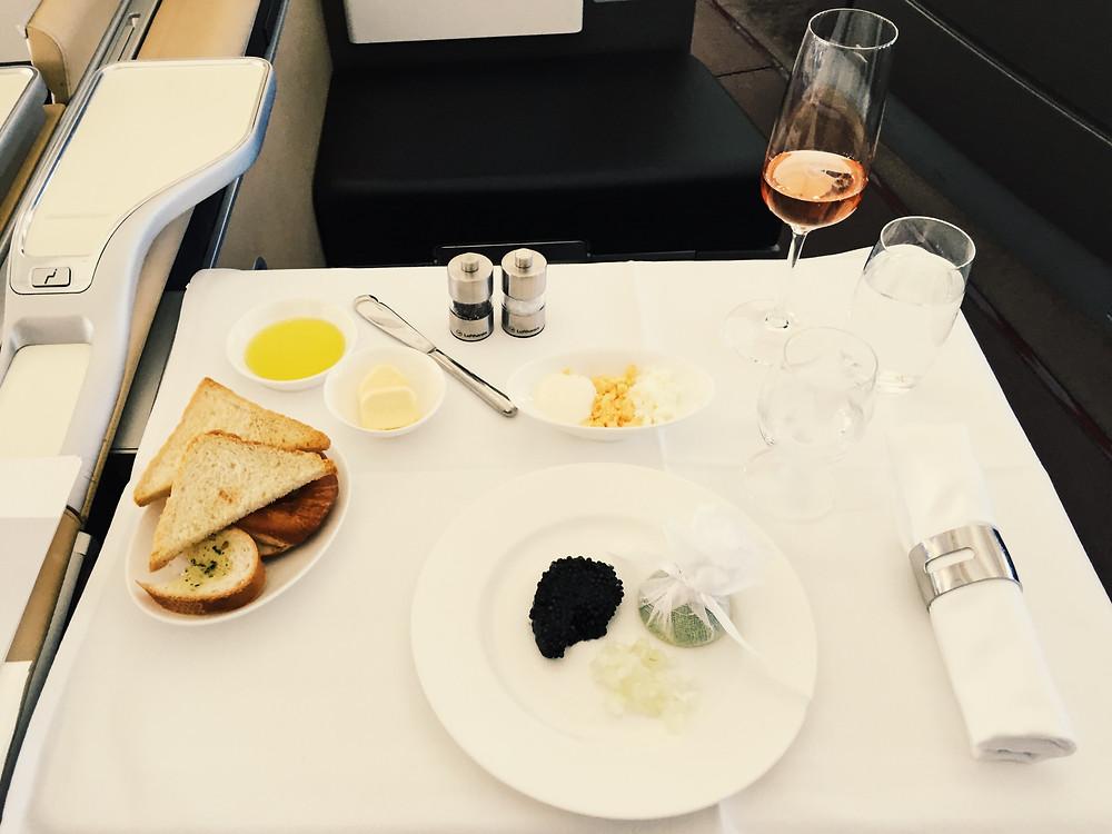 Lufthansa First Class, Caviar Service