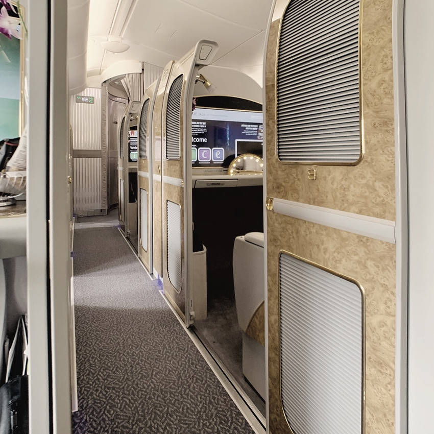Every seat of the Emirates First Class A380 Cabin is considered a suite with fully-enclosed doors.