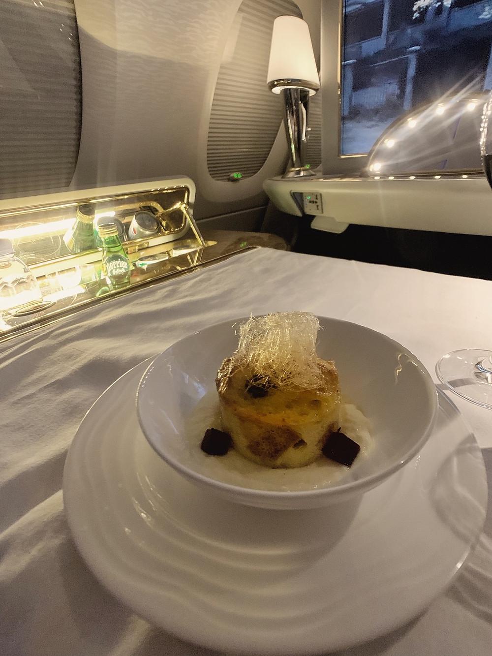 Emirates First Class San Francisco - Dubai, Bread Pudding Dessert