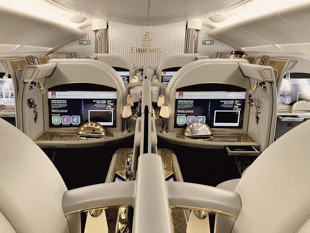 Emirates First Class San Francisco - Dubai, Flagship A380 First Class Cabin