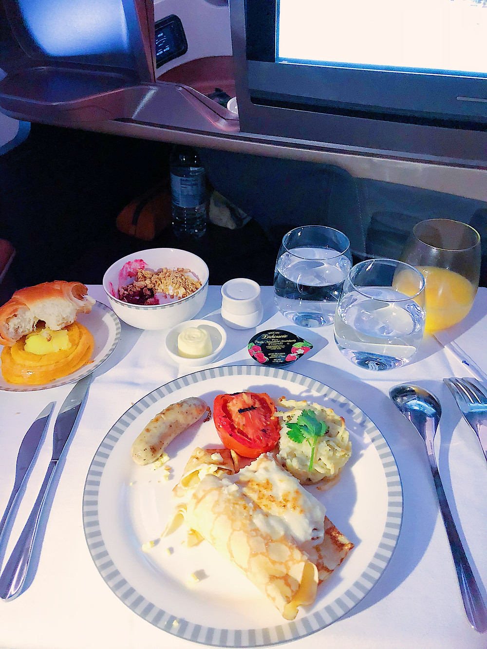 Singapore Airlines Business Class, Breakfast