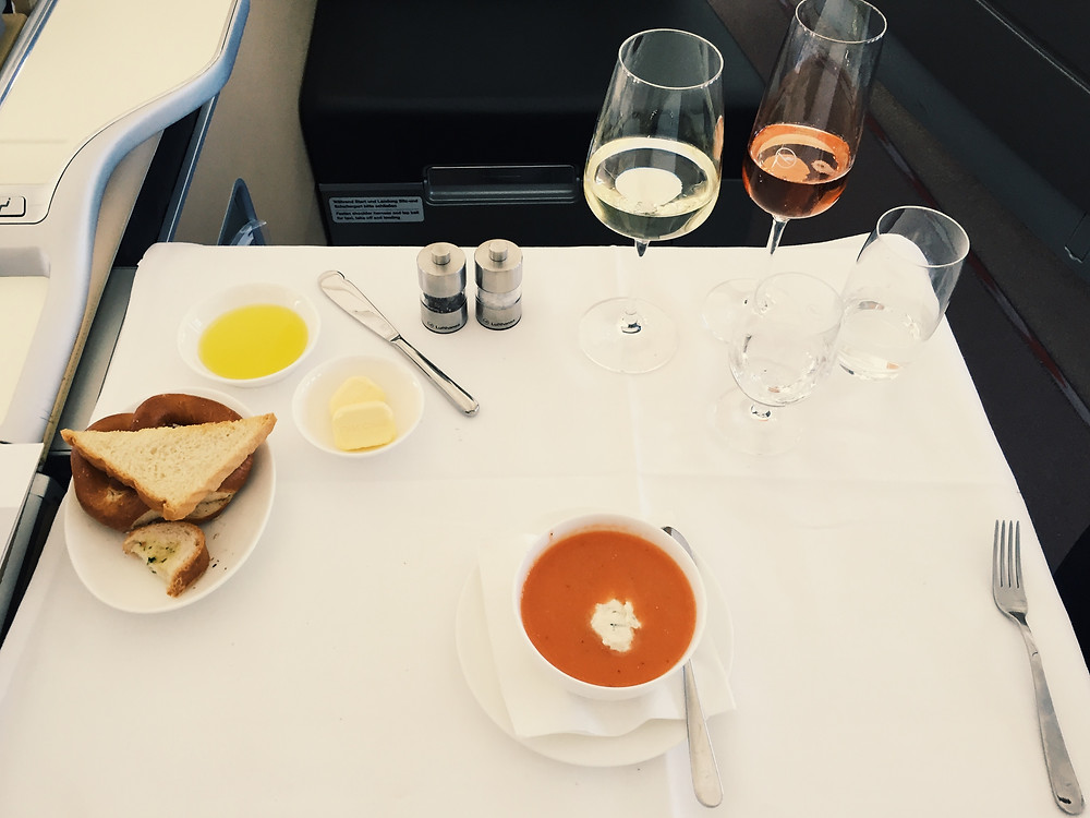 Lufthansa First Class, Chilled Soup