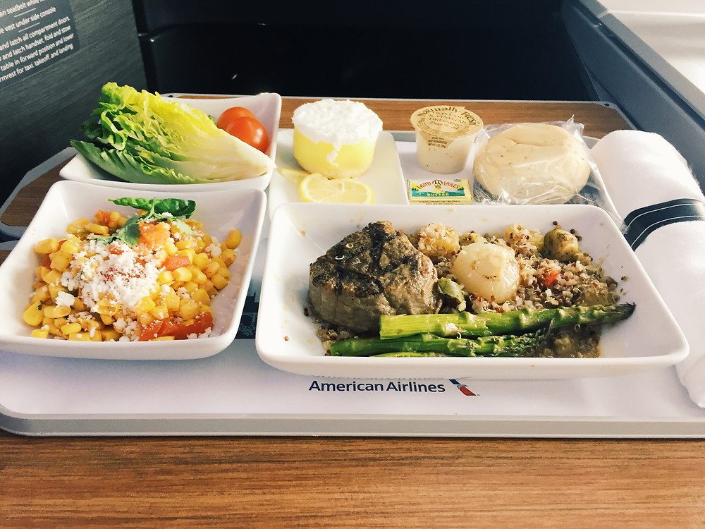 American Airlines Business Class, Dinner